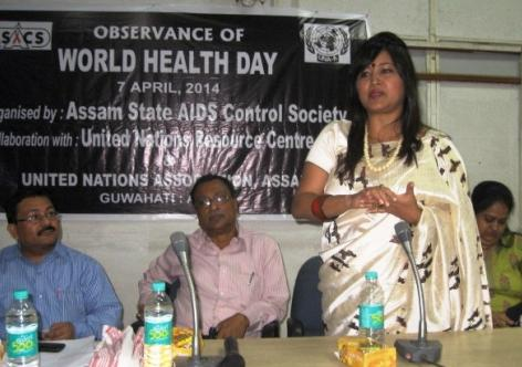 oted social activist Dr. Akashitora addressing the gathering on the occasion of World Health Day 2014 at SIHFW, Khanapara, Guwahati