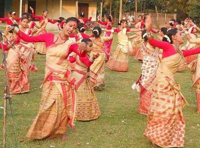 Bihu dance practice session at Raha