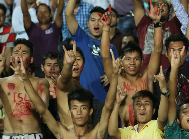 Fans during match 2 of the Hero Indian Super League between NorthEast United FC and Kerala Blasters FC held at the Indira Gandhi Stadium, Guwahati, India on October 13, 2014. Photo by: Saikat Das/ ISL/ SPORTZPICS
