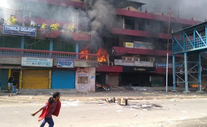 Protest in Itanagar on Sunday against the government's proposal to grant PRC to few communities