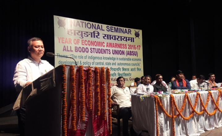 Mrinal gohain Regional Manager of Action Aid speaking during the national seminar organised by ABSU