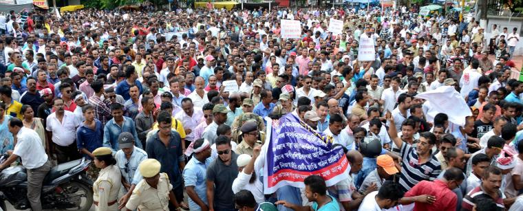 Protest in Nagaon onThursday. Photo by UB Photos.