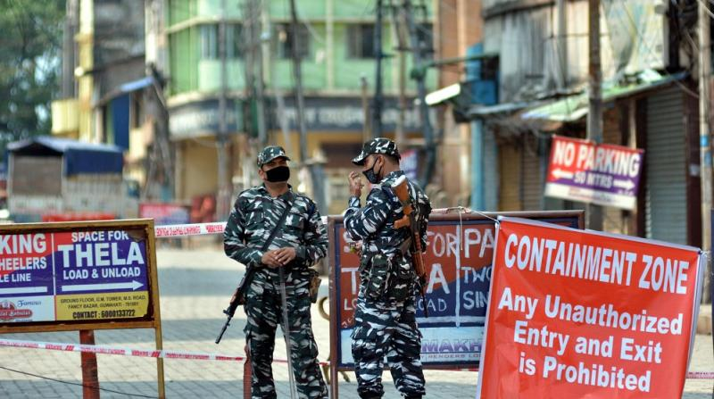 Security at Containment Zone in Guwahati on on 15-05-2020. Photo by UB PHOTOS