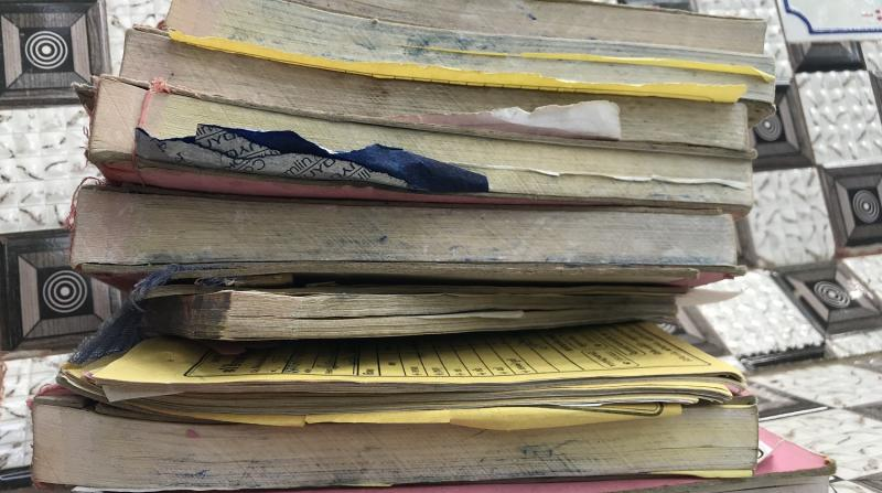 In just one crematorium in Amreli 7.5 death registers were filled in the months of April and May. Every register has 100 pages. Credits: Shreegireesh Jalihal/The Reporters' Collective