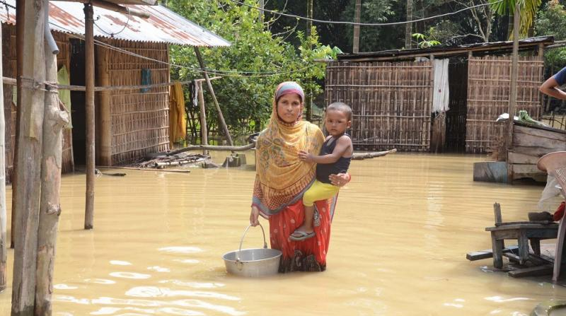 Water submerges several villages in Rangapara area of Sonitpur district on Monday. Photo by UB Photos.