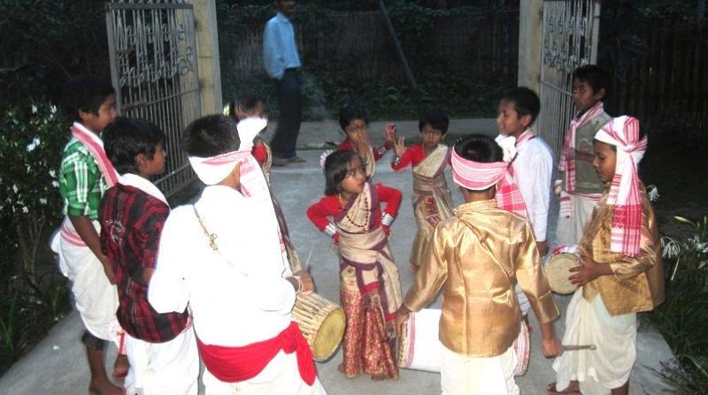 Few children performing bihu at Bhehpara Gaon, Dhemaji