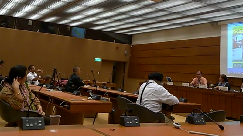 Side event on Extractive issue in indigenous areas at the 29th UNHRC Session, Geneva