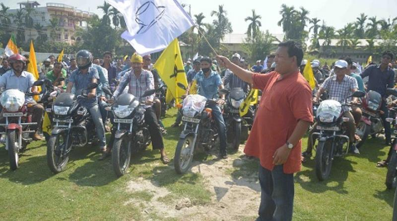 ABSU president Promod Boro while flagging off grand bike rally