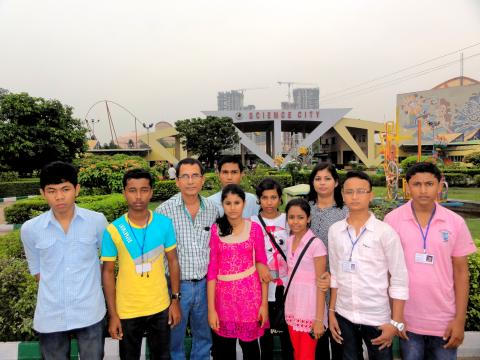 Child scientists with escort and guide in front of Science City, Kolkata on October 27