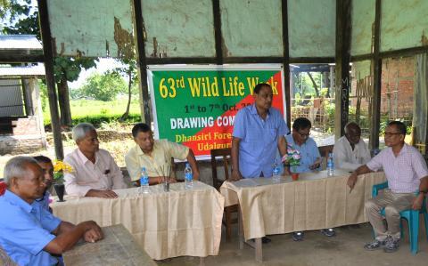 DFO MK Sarma addressing students at Swahid Adarsha ME school near Bornadi WLS on the occasion of 63rd Wildlife Week on October 4