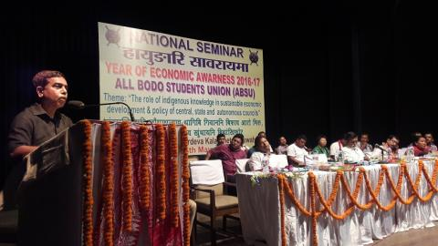Dr Hemen Bhattacharjee Director Extension Education of Assam Agriculture University speaking during seminar organised by ABSU