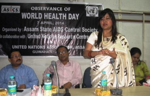 oted social activist Dr. Akashitora addressing the gathering on the occasion of World Health Day 2014 at SIHFW, Khanapara, Guwahati