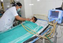 Japanise Encephalitis patients admitted at Assam Medical College & Hospitel ICU. Photo: UB Photos