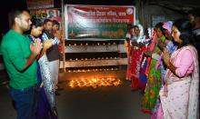 Tribute paid to CRPF jawans killed in Kashmir by terrists atatck by Kishak sramil unyan parishad at Nagaon on Friday. Photo: UB Photos