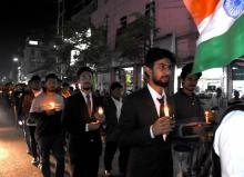Tezpur Yava Samaj Protest Candle Lighting Rally against terror attacks in Pulwam Kashmir, at Tezpur on on Sunday. Photo: UB photos