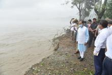 Assam Governor Prof. Jagdish Mukhi recently visited flood hit Baksa and Barpeta districts where large scale erosion caused by the reiver Beki