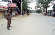 Tamulpur-Security during curfew. Photo: UB Photos