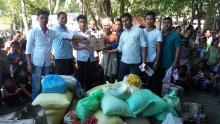 AJYCP members distribute relief materials to flood affected people at Teok
