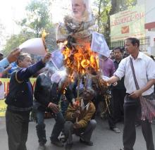 KMSS activists burnt Prime Minister Narendra Modi's effigy protesting BJP's view on the Northeast