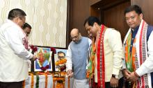 BJP president Amit Shah lightning the inaugural lamp of the 2nd Conclave of North-East Democratic Alliance (NEDA), in New Delhi on Tuesday Photo by UB Photos