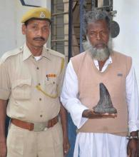 Nagaon Police arrested one rhino poacher and recovered one horn at Juria Gadaimari Village in Nagaon on 07-03-15. Pix by UB Photos