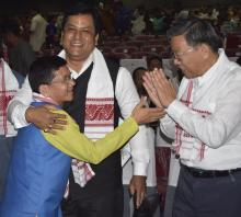Kalikho Pul with Assam CM Sarbananda Sonowal and Nagaland CM T R Zeliang
