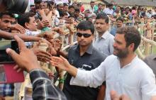 Rahul Gandhi at a election rally at Nagaon
