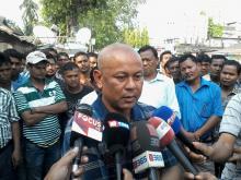 Hagrama Mohilary addressing media in Kokrajhar