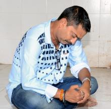 Abhishek Roy one of the accused who thrashed a group of  surrendered ULFA cadres arrested by police Thursday. Photo  by UB Photos.