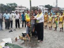 Photo of Mukut Barman while laying laikhuta for bishuwa utsav in Kokrajhar