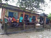 Flood relief camp at 362 Chekadani LP school, Bhaowraguri Circle, Kokrajhar