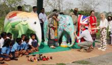 The Duke and Duchess of Cambridge visit IFAW-WTI's Centre for Wildlife Rehabilitation and Conservation, interact with orphaned elephants and rhinos, and paint an elephant with schoolchildren.