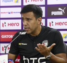 Cesar Farias of North-East United FC during a press meet at Guwahati. Photo: Rituraj Shivam