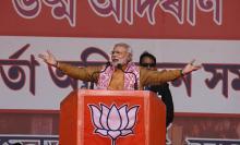 PM Narendra Modi at Guwahati. Photo: Prabir Kumar Talukdar