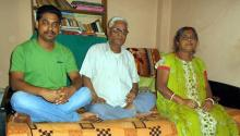 Rakesh with wife and son