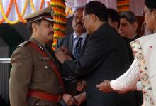 THUMBS UP... IGP Bhaskar Jyoti Mahanta receiving Chief Minister's Police Medal at Republic Day function in Guwahati on Monday