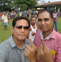 NPP leader Conrad Sangma after casting his vote