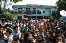 Salt Brook Academy students enjoy for the HSSLC result . Photo by Pronib Das