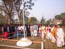 Bokakhat MLA Arun Phukan hosting national flag at Bokakhat.