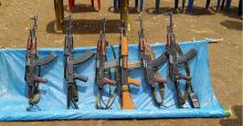 The 6 assault rifles seized from 23 Assam Rifles along with a wireless set by UNLFW during what is calls, 'Operation Changlangshu,' in Mon, Nagaland, Sunday, May 3, 2015. Photo: UNLFW