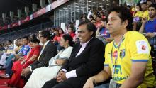 Sachin Tendulkar, Mukesh Ambani, WB CM Mamata Bannerjee, Amitav Bachhan and others at Hero Indian Super League between Atletico de Kolkata and Mumbai City FC held at Kolkata on October 12.  Photo by: Saikat Das/ HISL/ SPORTZPICS