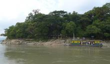 Approaching Umananda temple..