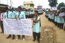 Rally against bad roads in Dima Hasao. Photo by: Reejunon Nunisa
