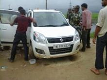 BJP workers in Uriam Ghat seizing a vehicle from Chetiagaon on Thursday